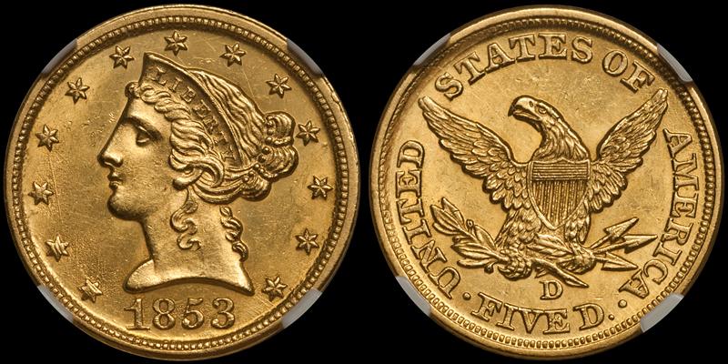 1853-D $5.00 NGC MS63