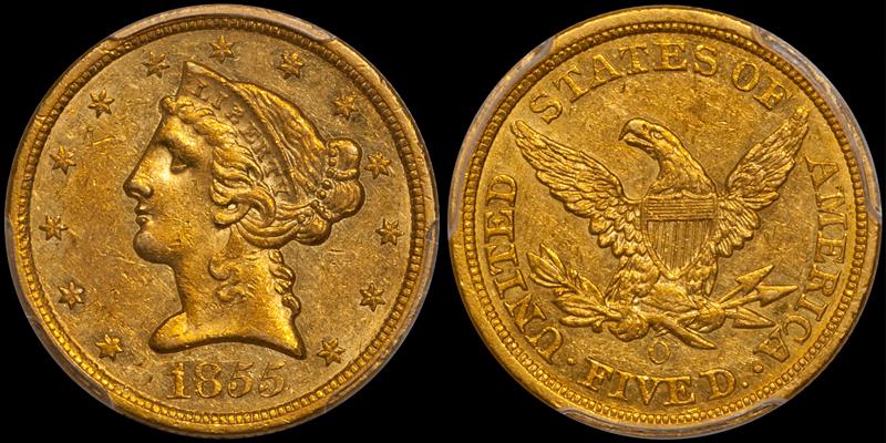 1855-O $5.00 PCGS AU55