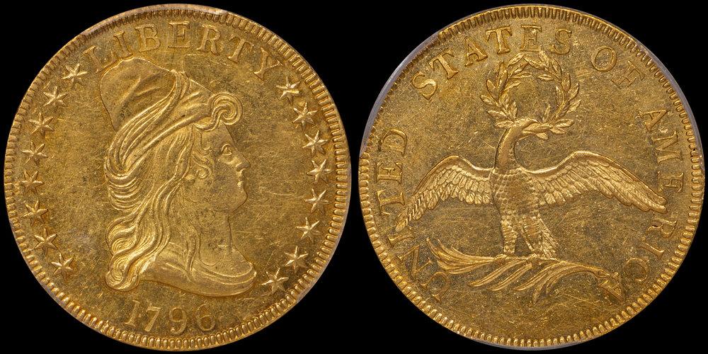 1796 $10.00 PCGS AU58 CAC