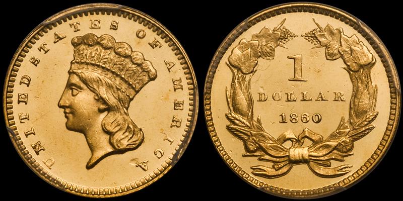 1860 $1.00 PCGS PR65CAM CAC