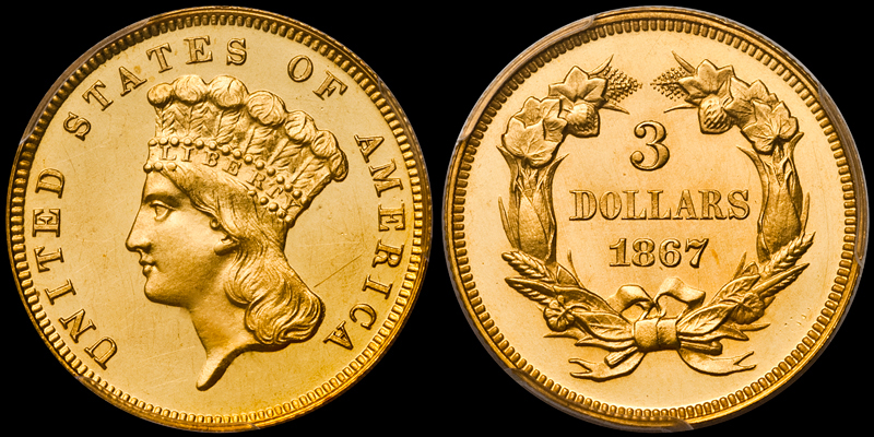 1867 $3.00 PCGS PR63DCAM CAC