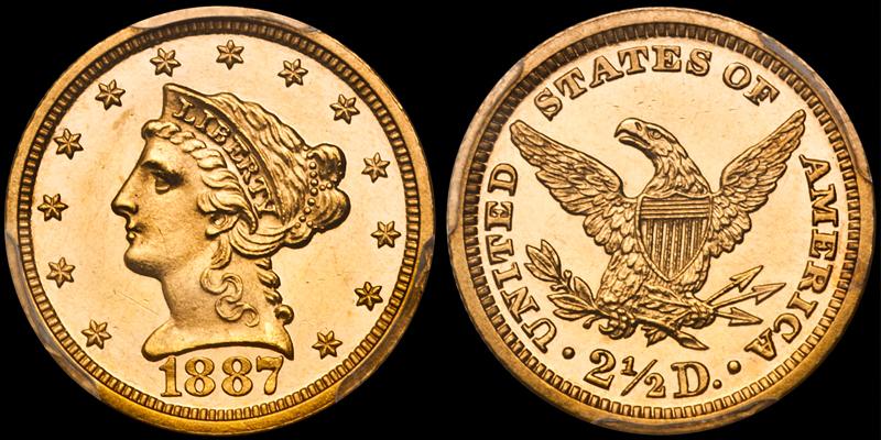 1887 $2.50 PCGS PR63CAM CAC