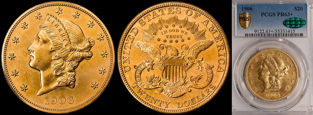 1906 $20.00 PCGS PR63+ CAC