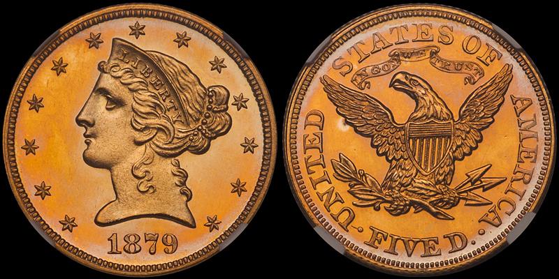 1879 $5.00 NGC PR64+ Cameo