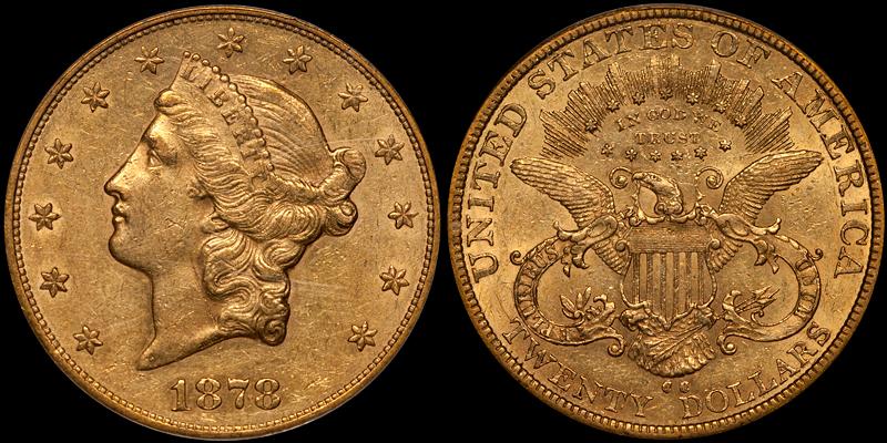 1878-CC $20.00 PCGS AU58