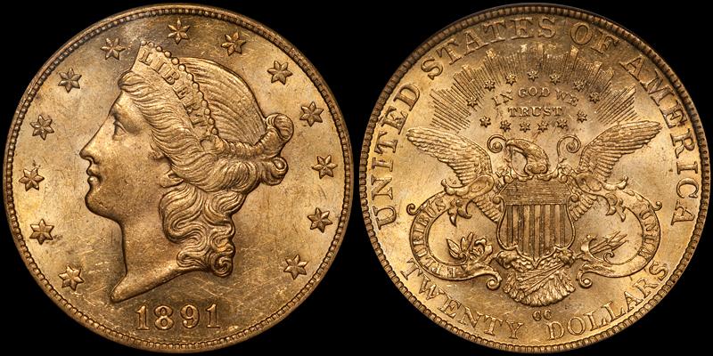 1891-CC $20.00 PCGS AU58