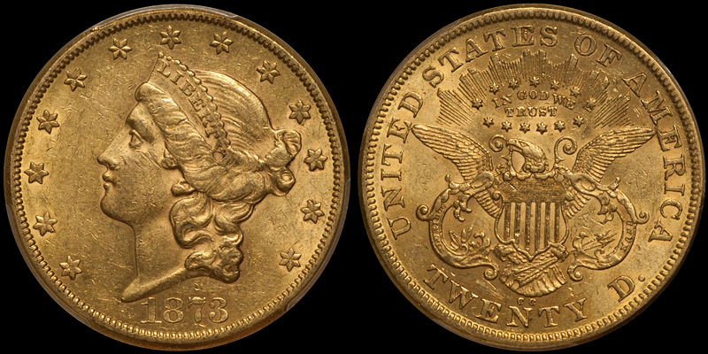 1873-CC $20.00 PCGS AU58 CAC