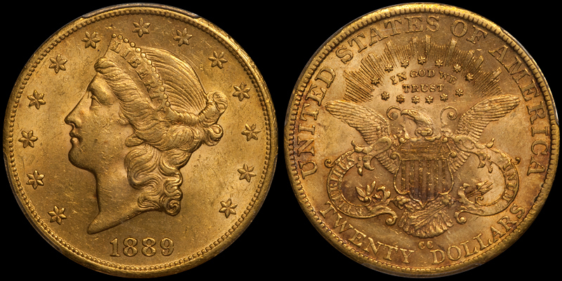 1889-CC $20.00 PCGS AU58 CAC