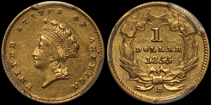 an 1855-D $1.00 in PCGS AU53 with CAC approval, sold by DWN in 2014