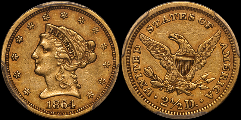 an 1864 $2.50 in PCGS EF45 cac, sold by DWN in 2017