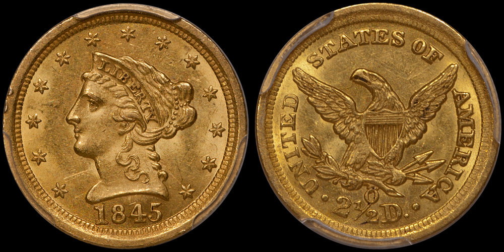 an 1845-O $2.50 in PCGS MS with CAC approval, sold by DWN in 2018