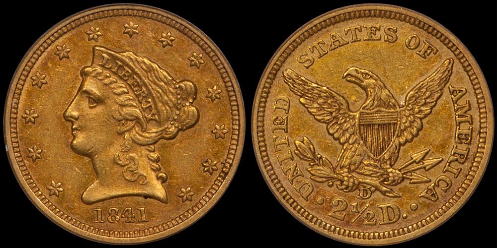 1841-D $2.50 PCGS AU50, CAC Gold Sticker