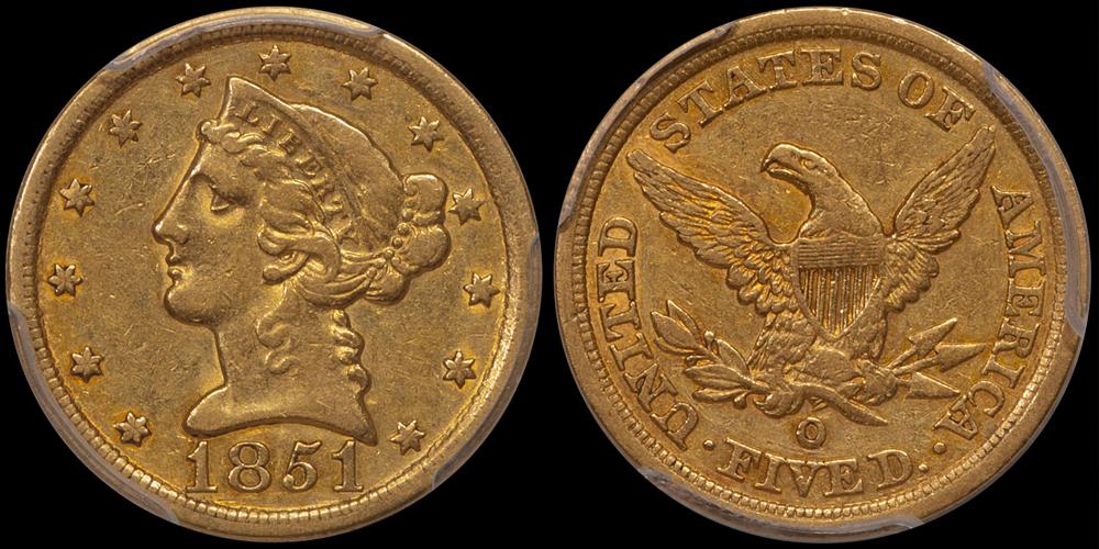 1851-O $5.00 PCGS EF45 CAC