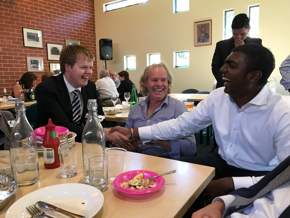 Picture, left to right: Jackson Saunders (4th year seminarian of Sandhurst Diocese) enjoys some banter over lunch with his father, Damien, and Jude Johnson (5th year seminarian of Melbourne Archdiocese) at family day.