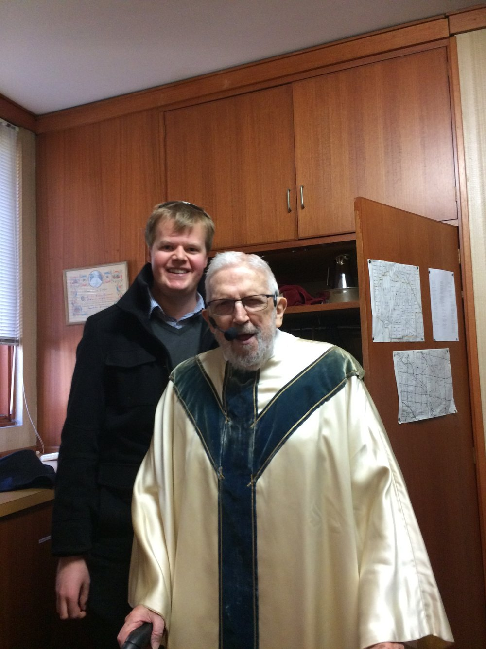 Jackson Saunders with Fr Gerard Dowling after his thanksgiving Mass for 60-years as a priest.