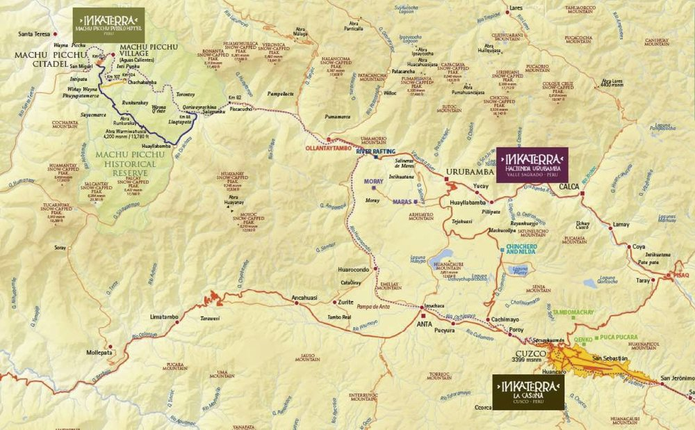Inkaterra property locations in Cusco, the Sacred Valley and outside of Machu Picchu