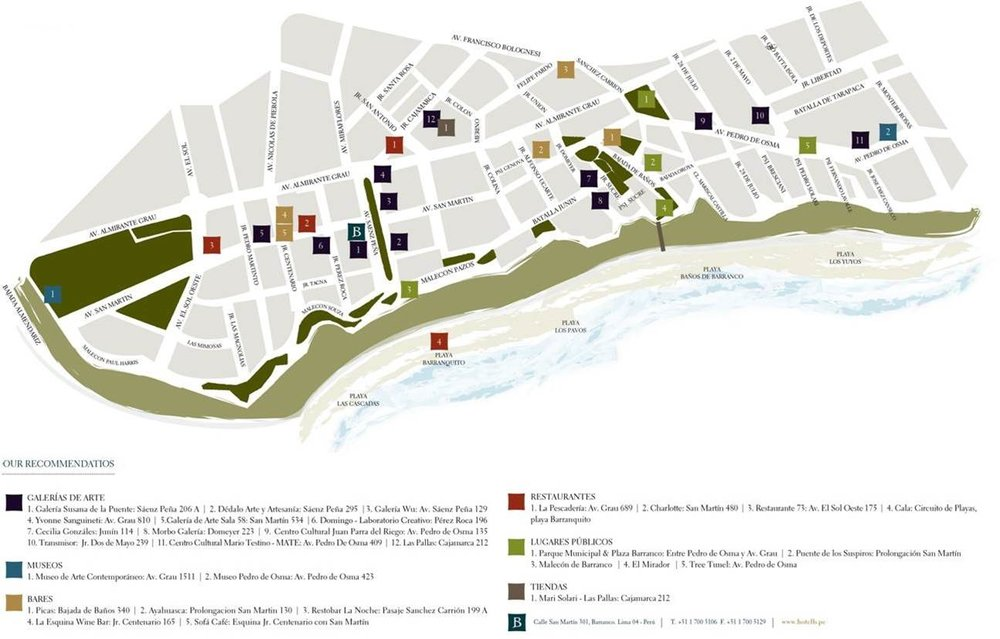 A map of some of Barranco's highlights