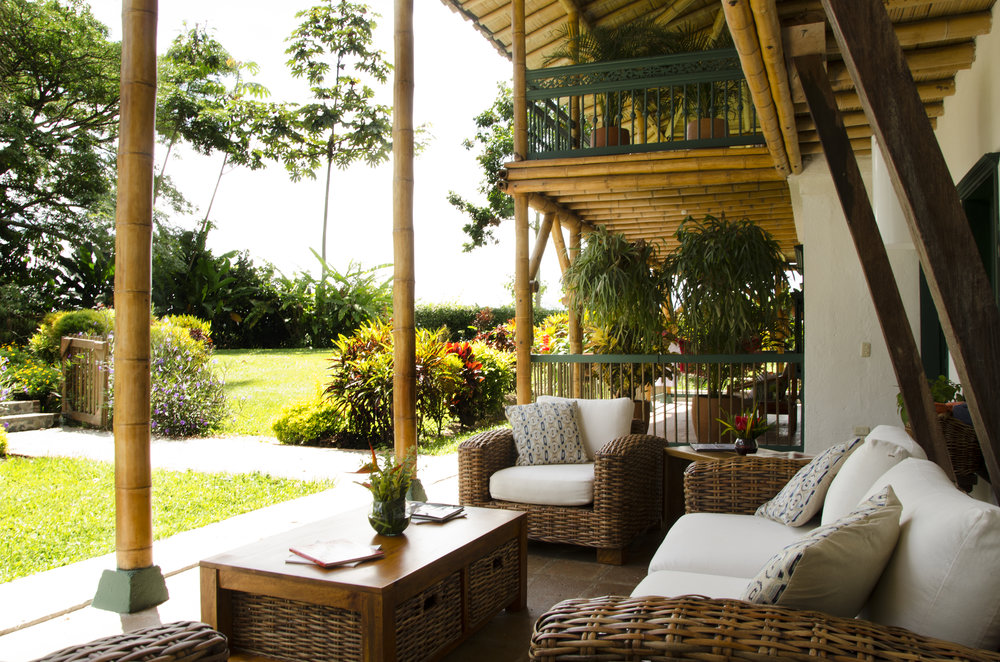 Spacious verandas & gardens surround every room at Hacienda Bambusa, which is built circling a central enclosed courtyard.