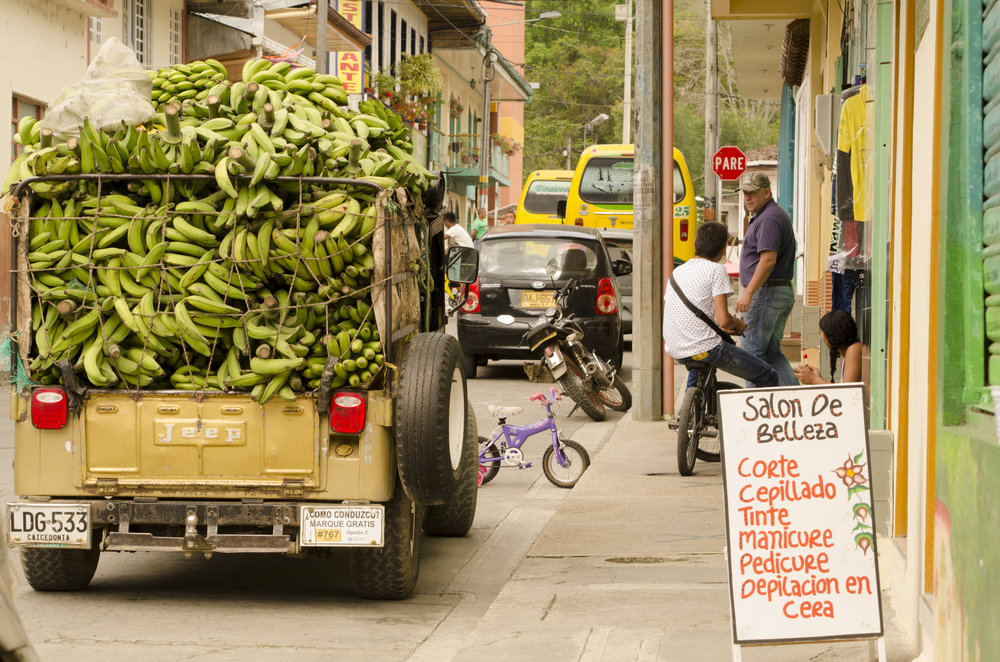 Typical street scene in a town near Hacienda Bambusa; WWII era Jeep Willy loaded to the brim with plantains.