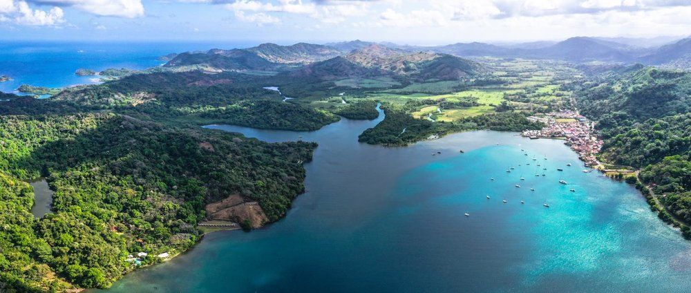 Bahia Portobelo viewed from above lives up to its name, bestowed by Christopher Colombus