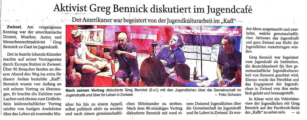 August 2018 News article in the local newspaper in Zwiesel Germany about how my spoken word event was followed up with a group discussion session about improving the local community through the work and action of the all ages venue itself and its volunteers.