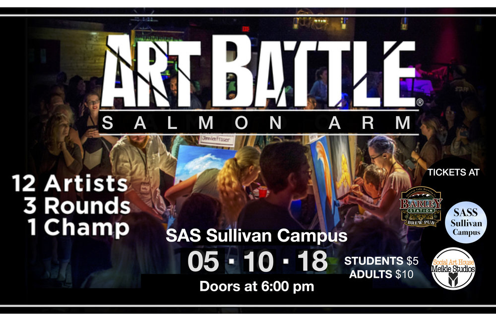Art Battle YOUTH - Art Battle® is coming to Salmon Arm for a first ever Youth Live Painting Competition! Join us for an inspiring night of live arts, creativity and community at the SAS Sullivan Campus. Watch as 12 incredible painters battle the clock and each other to turn blank canvases into beautiful works of art in 20 minutes. The crowd-voted winner moves on to compete provincially - and possibly nationally!