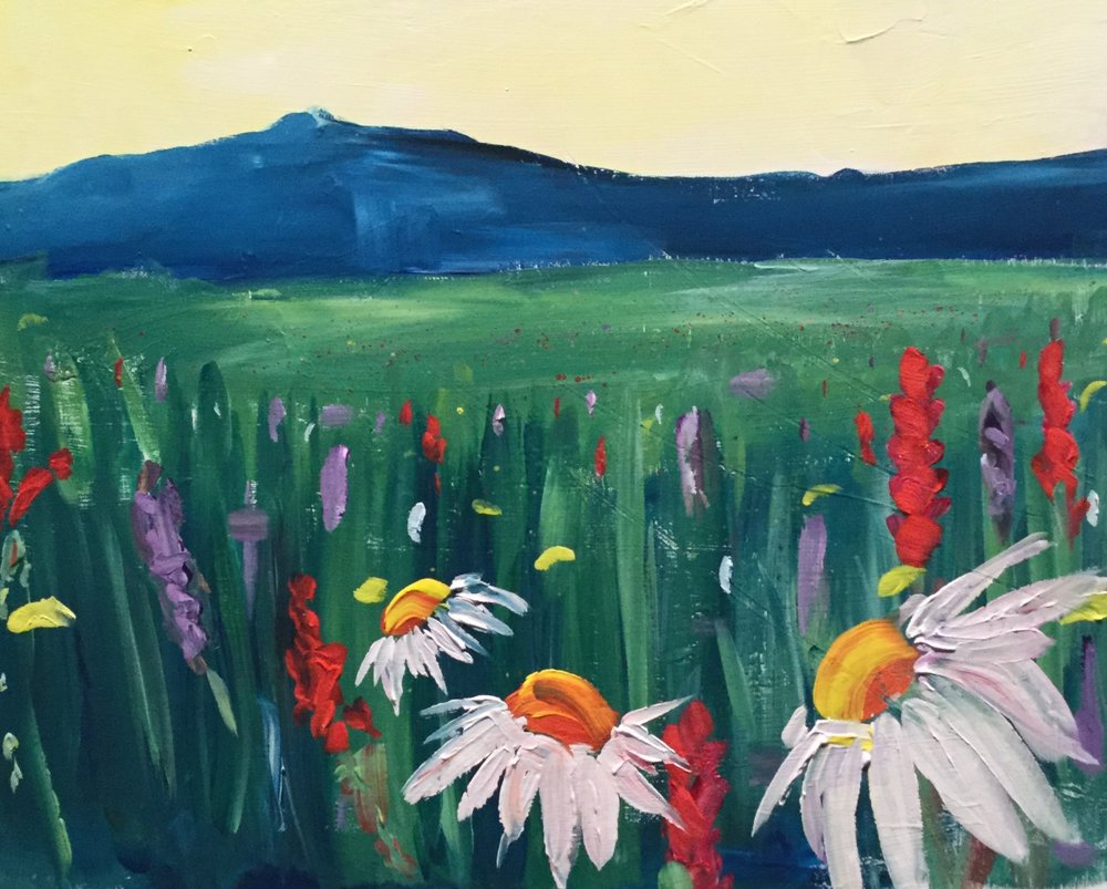 Paint Night: The Hills Are Alive - Take a looky-lou at this beaut! A local alpine meadow with wild flowers in full bloom.