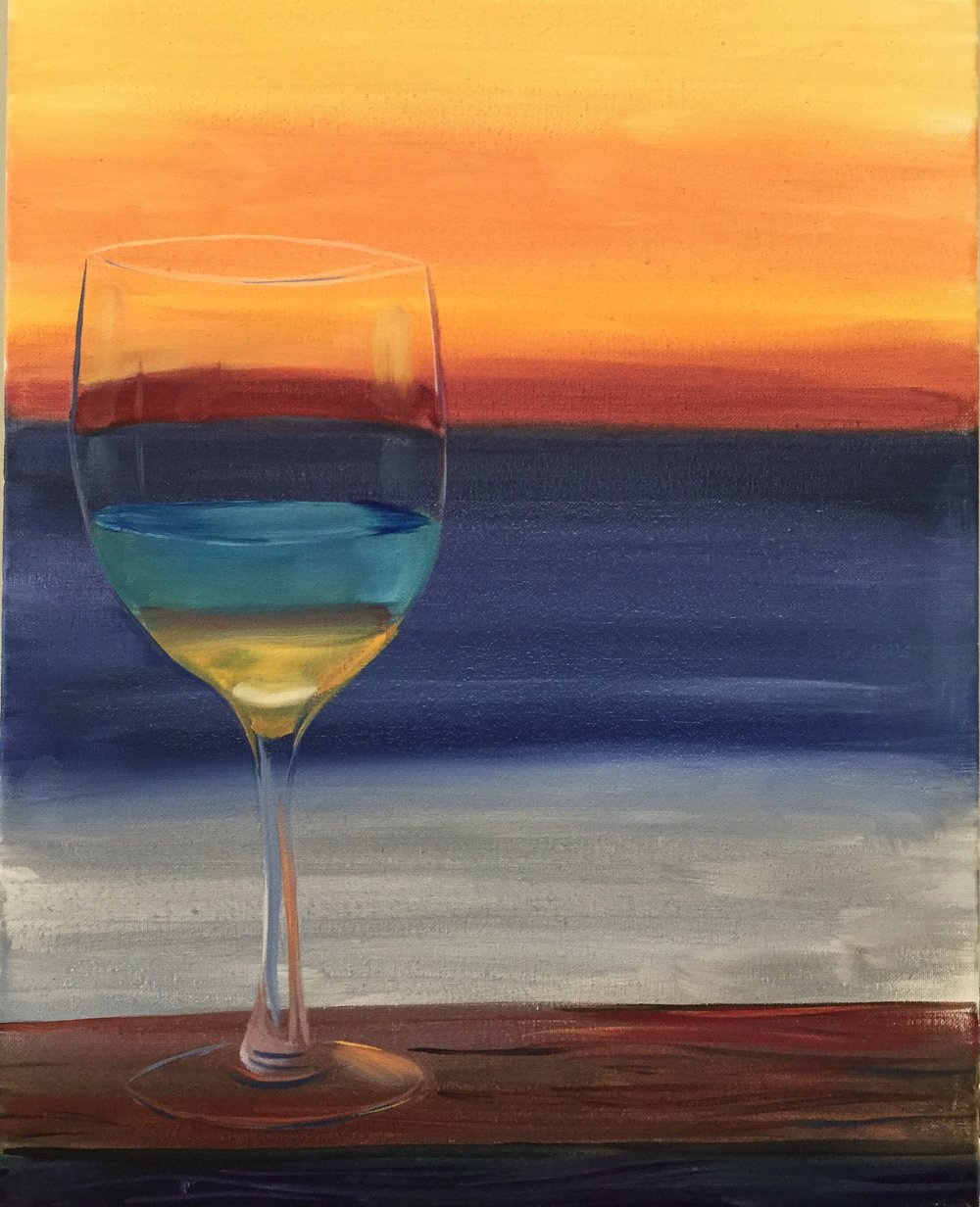 Sip & Paint at Recline Ridge Winery - A Sunset Orange this beautiful needs to painted. And it's all step by step instructed with local artist Adam Meikle.