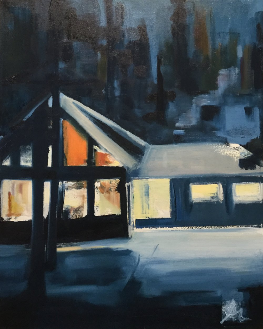 "The Cabin: 16"" x 20"", Oil on canvas, SOLD"