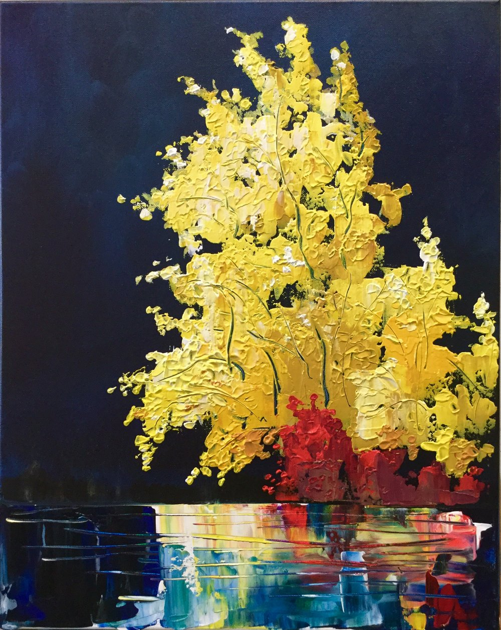 Paint Night at Boston Pizza: Indigo - Experiment with heavy body acrylic mediums in this Indigo session, so your painting keeps that textured look.Level: EasyDate: Monday, Oct. 15Time: 7-9:00pmBoston Pizza Salmon ArmPrice: $40/ guest