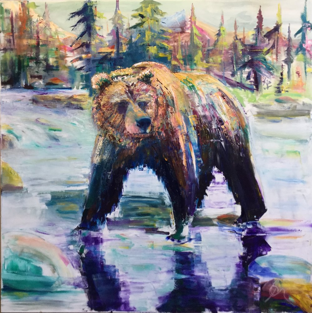 "GrizzlyPlains - Oil on Canvas48"" x48""SOLD/ PRIVATE COLLECTION"