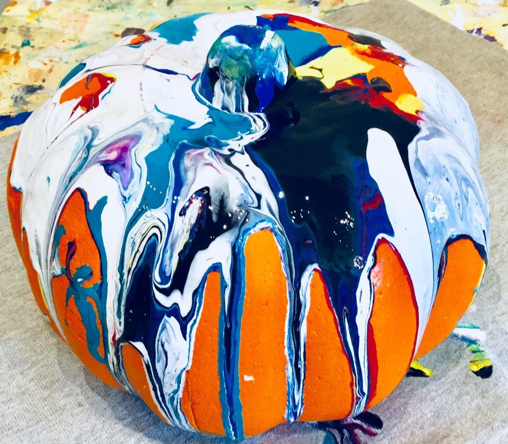 Drip Art Pumpkin - It's the return of the drip art pumpkin. Happy Fall everyone!