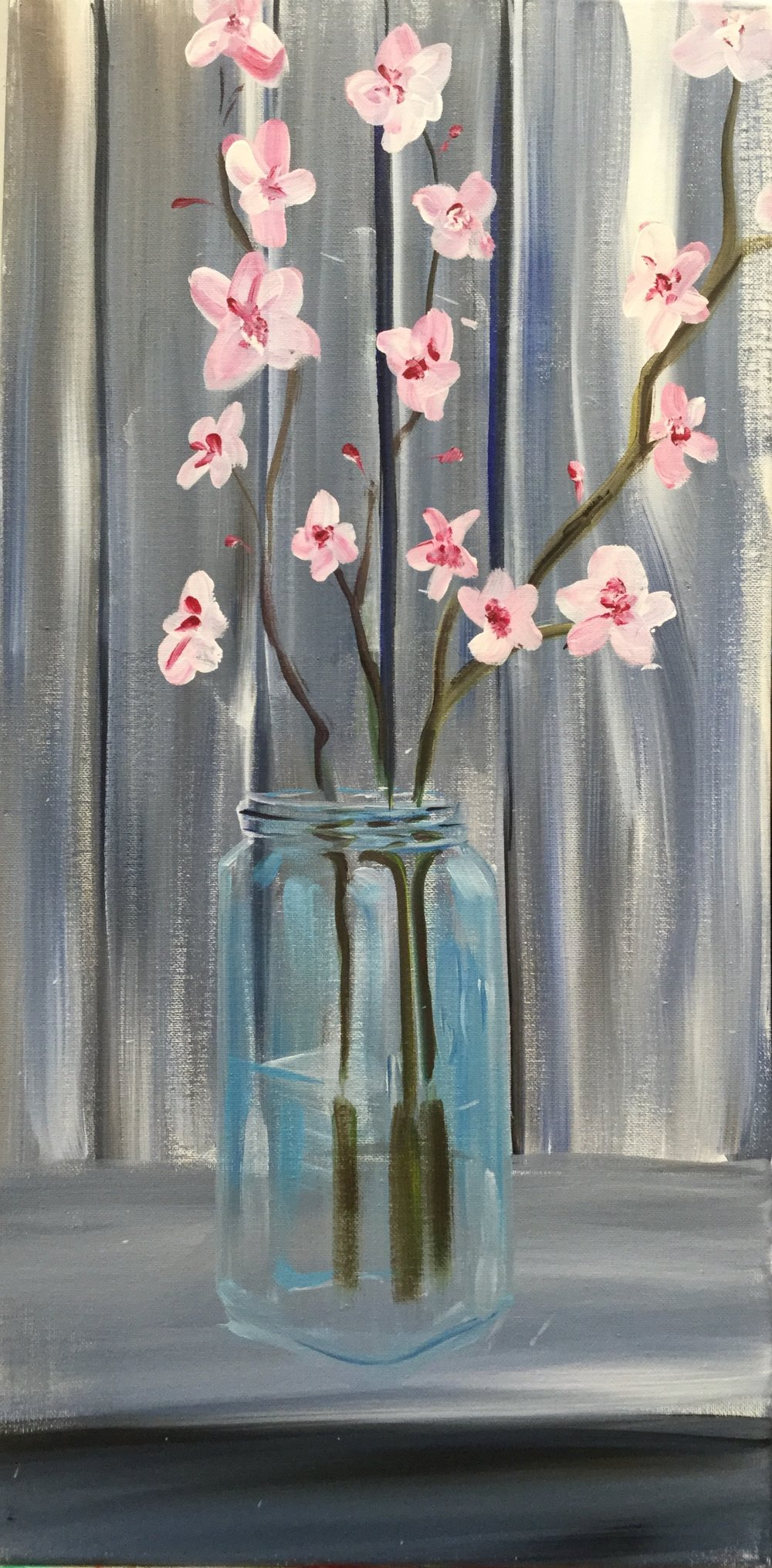 PINT & Paint: Shabby Chic - Meet Adam Meikle at the Brew Pub to paint a shabby chic mason jar of blossoms - step by step instruction for beginners included!