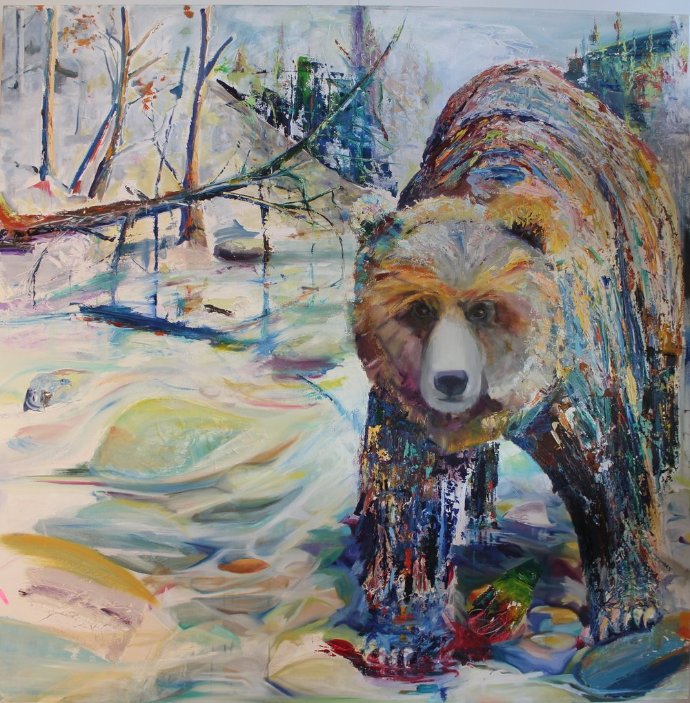 "RIVER BEAR - 48"" x 48""Oil on Canvas, Adam MeikleSOLD/PRIVATE COLLECTION"