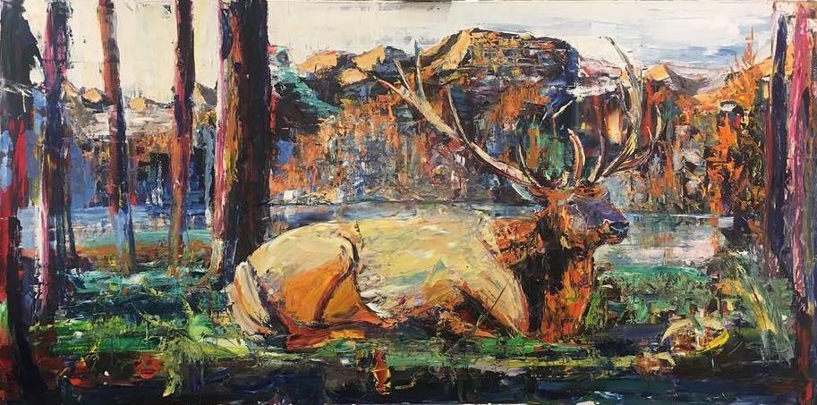 "Wapiti 1 - 48"" x 96""Oil on canvas, Adam Meikle$4000"