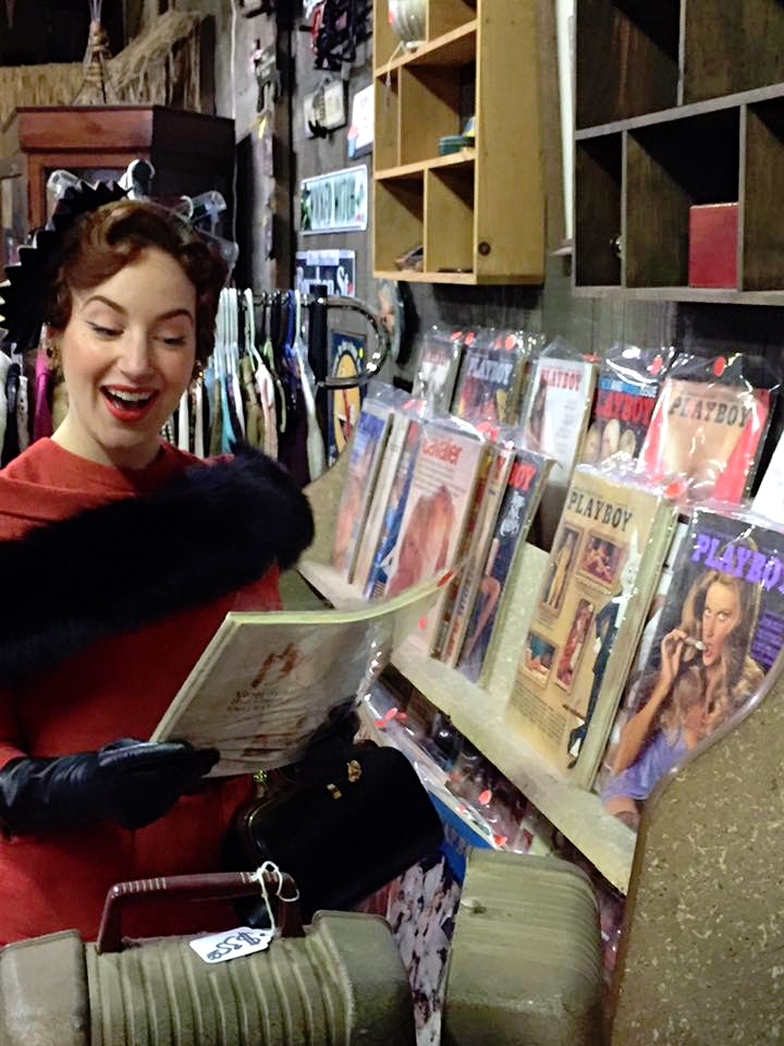 Deanna found some vintage Playboy magazines to pass the time