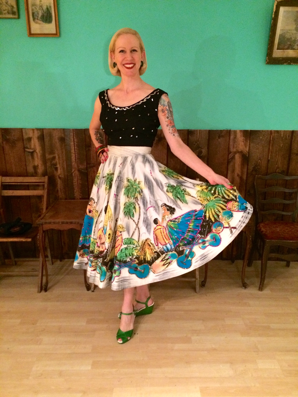Elisa showing off her hand painted Mexican circle skirt