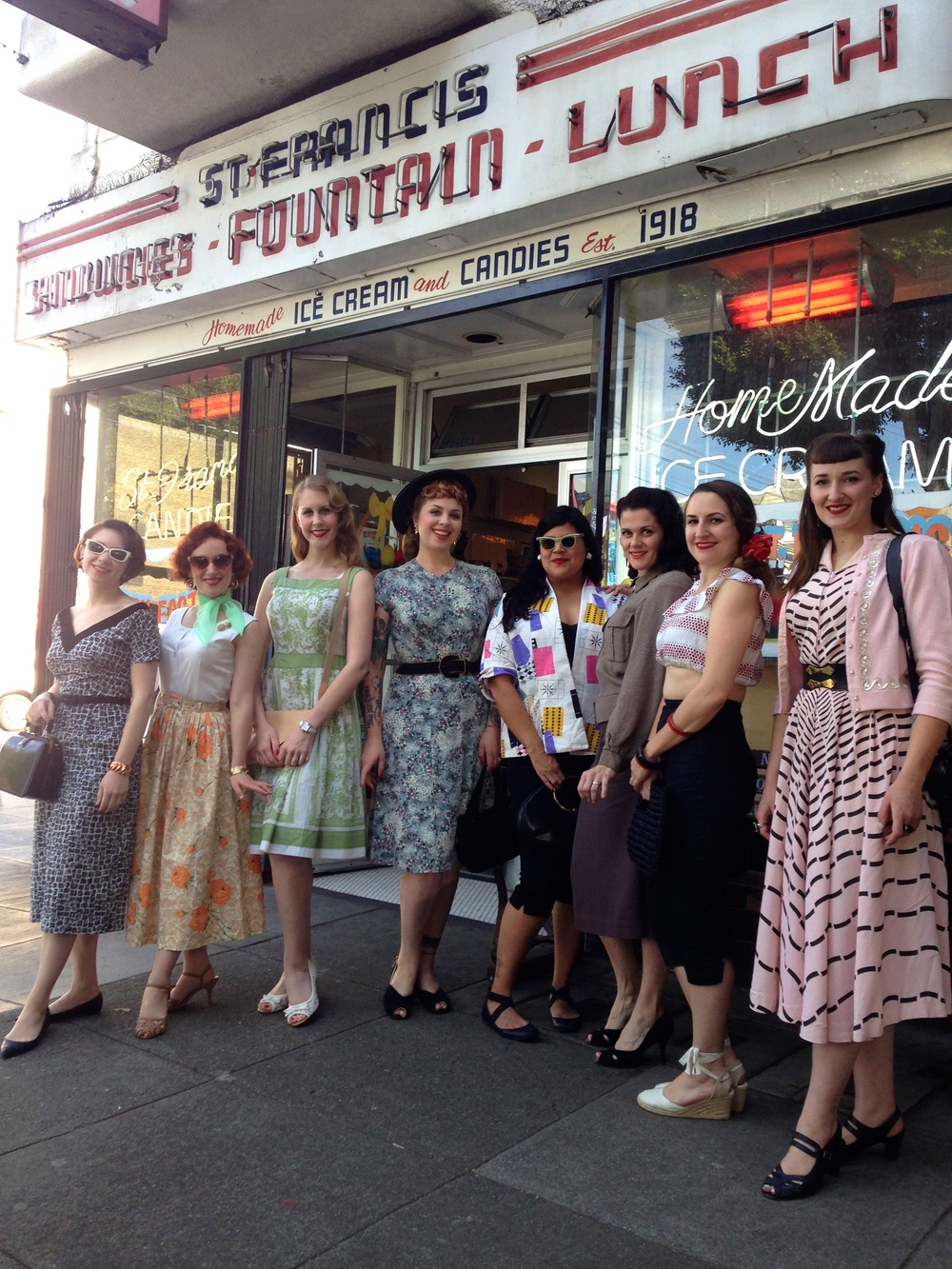 Ladies in front of the shop