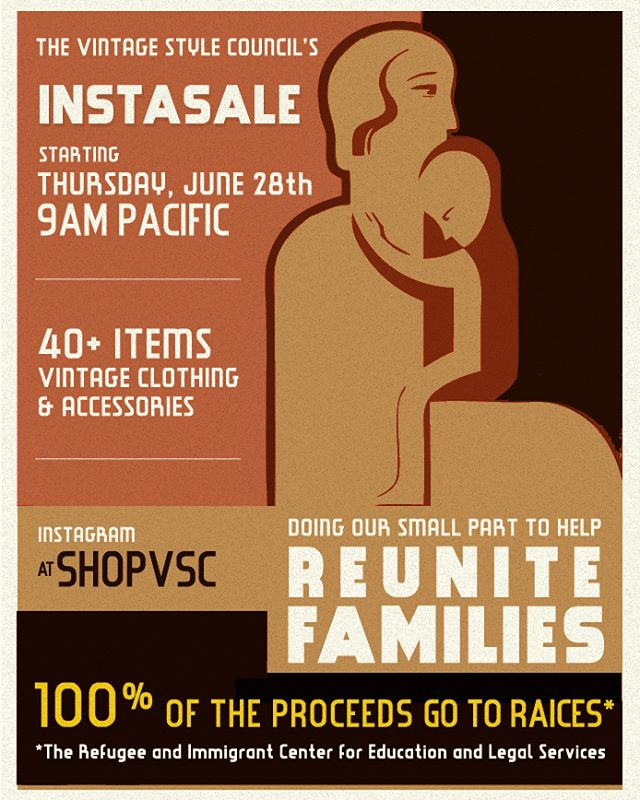 Hoping to do our small part, we're supporting @raicestexas by holding a huge vintage fashion sale on Thursday, June 28th starting at 9am Pacific over @shopvsc . All of the items have been donated by members of @vintagestylecouncil and 100% of proceeds (minus shipping costs) will go directly to their organization. There will be 40+ quality items available at incredibly reasonable prices. Expect previews and a breakdown of the sale guidelines during the next couple days! Be sure to follow @shopvsc to stay updated! (Sale graphic based on original WPA poster from 1939 )