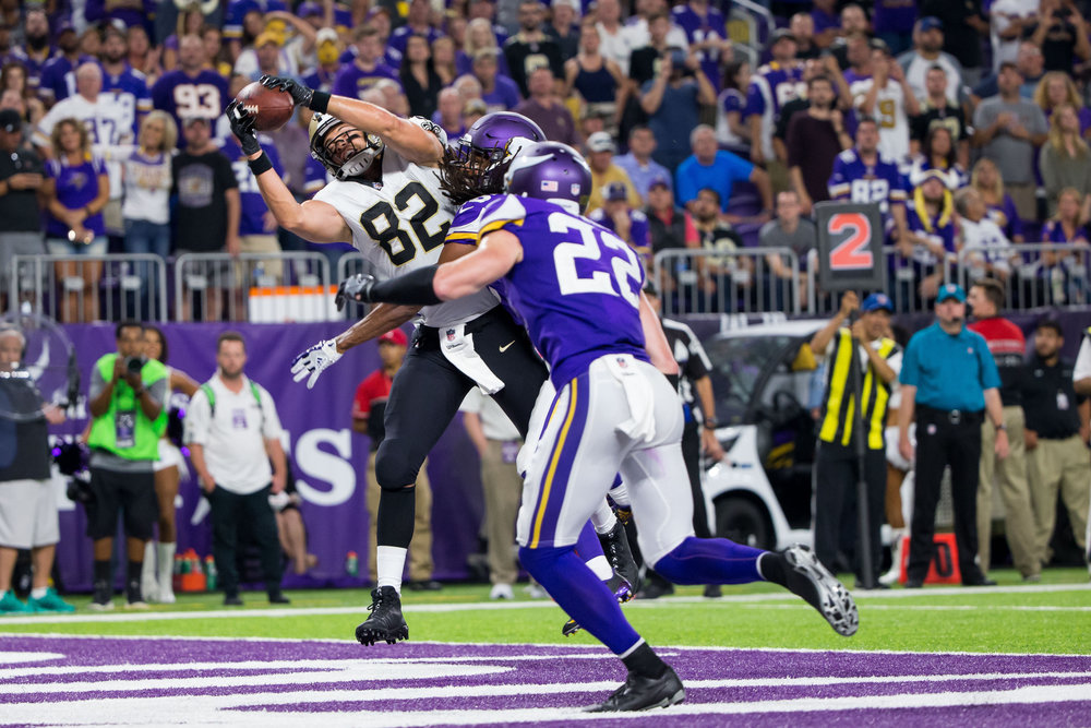 Sep 11, 2017; Minneapolis, MN, USA; New Orleans Saints tight end Coby Fleener (82) catches a pass for a touchdown in the fourth quarter against the Minnesota Vikings at U.S. Bank Stadium. Mandatory Credit: Brad Rempel-USA TODAY Sports