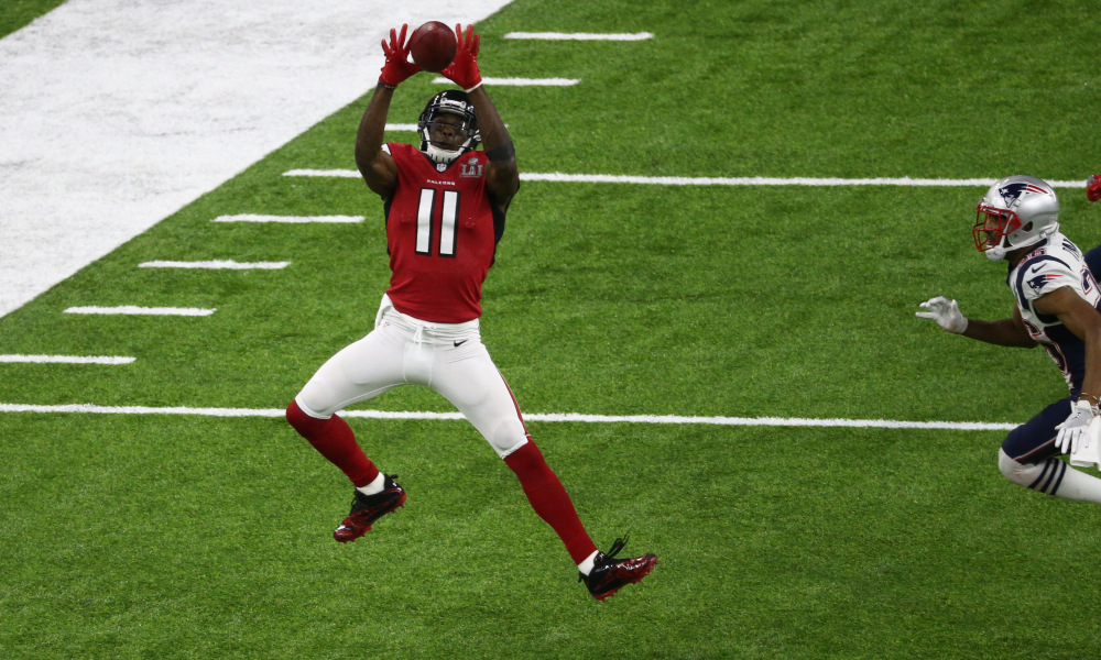 Feb 5, 2017; Houston, TX, USA; Atlanta Falcons wide receiver Julio Jones (11) makes a catch during Super Bowl LI at NRG Stadium. Mandatory Credit: Troy Taormina-USA TODAY Sports