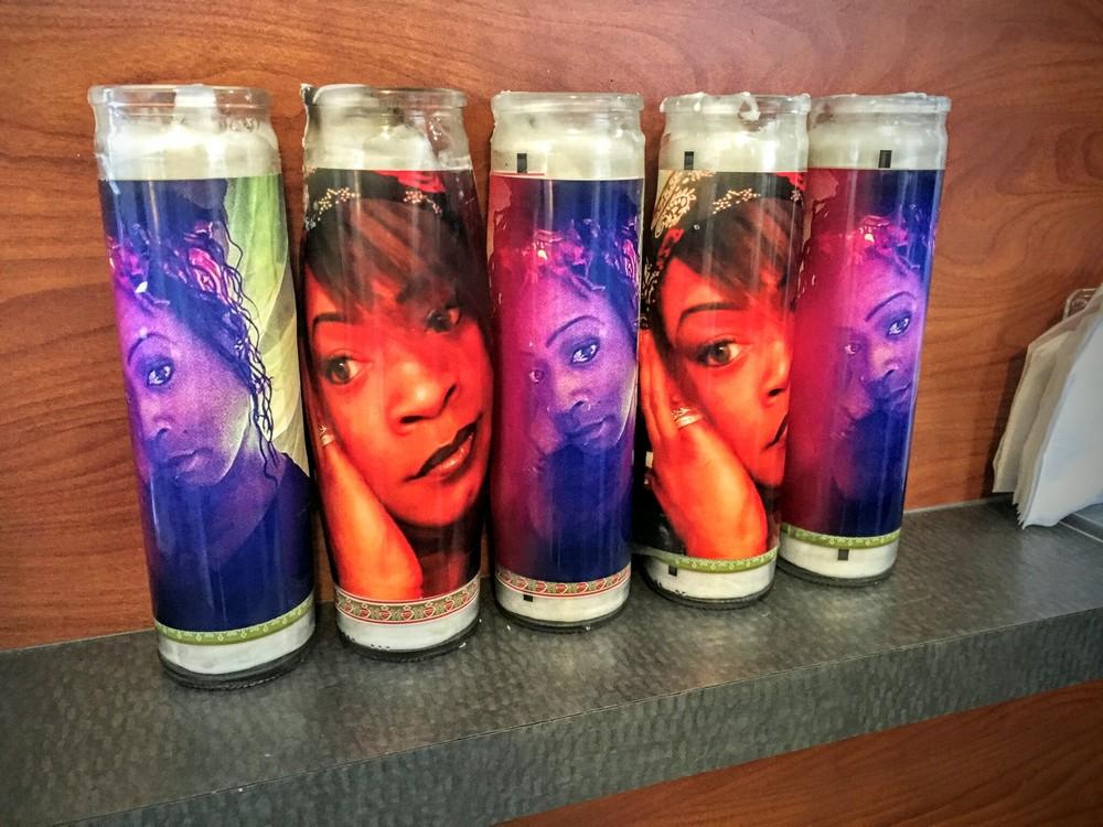Votive candles with memorial photos of Reese. #sayhername #reesewalker #girlslikeus #stoptransmurders