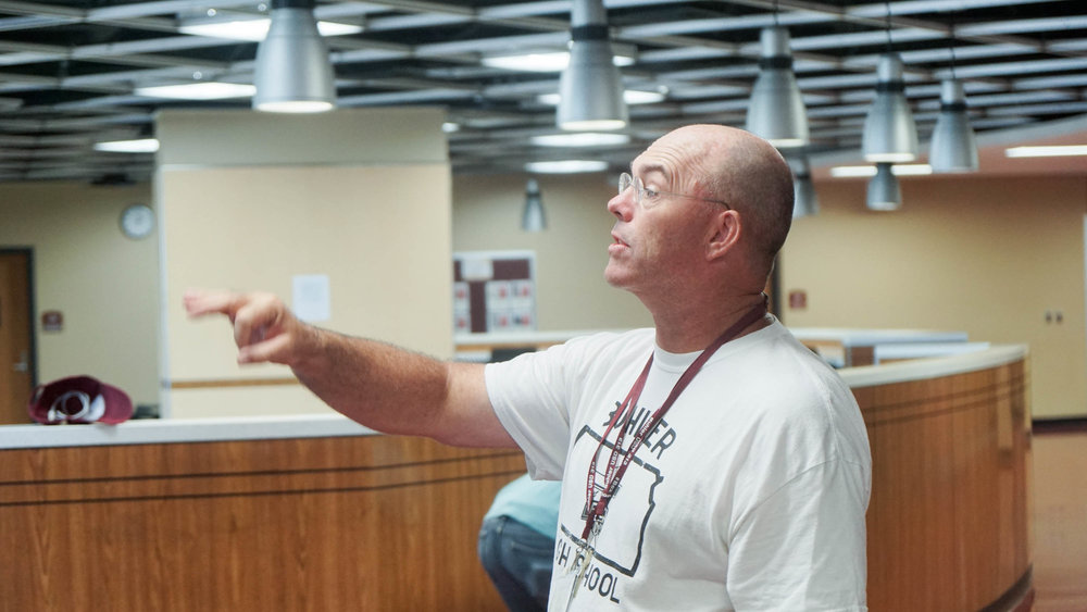 Mr. Adkins takes us on a tour of Buhler High School, starting with the cafeteria. EVERYTHING IS SO SO SO DIFFERENT.