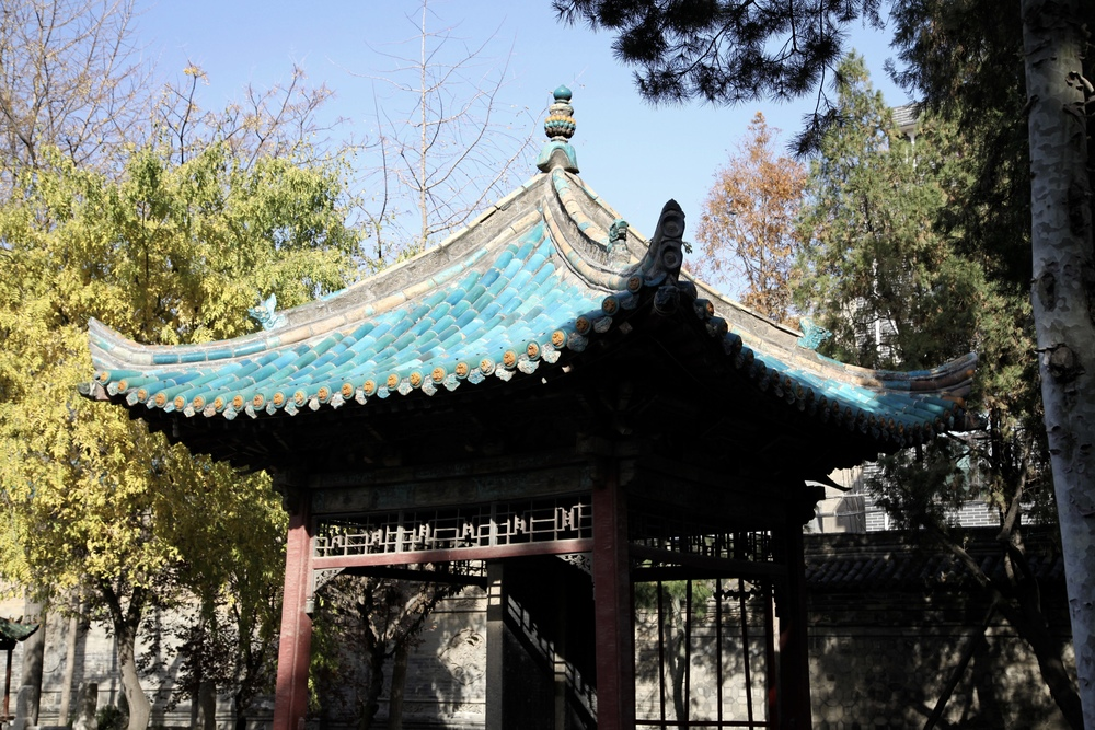 A Chinese kiosk with Persian-style turquoise tiles at the Great Mosque in Xi'an, visited by President Rafsanjani and other visitors to China from Tehran