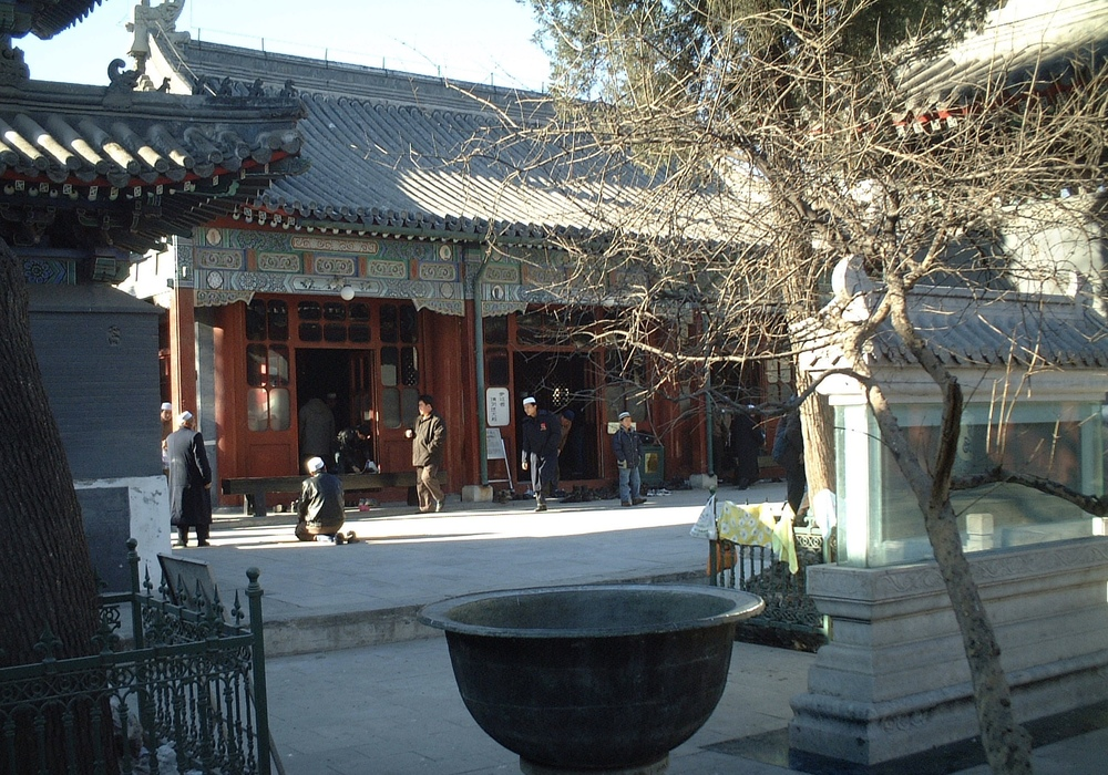 Friday worshippers at the distinctly Chinese-style       Niujie Mosque in Beijing