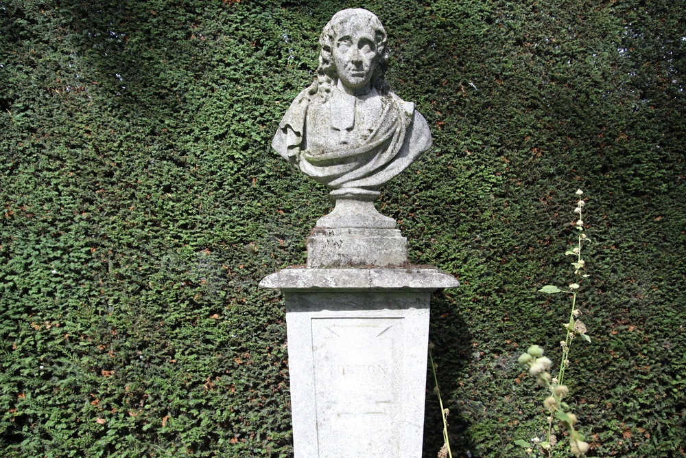 Statue of Milton in the garden of Christ's College, Cambridge, where he studied from 1625-1629.
