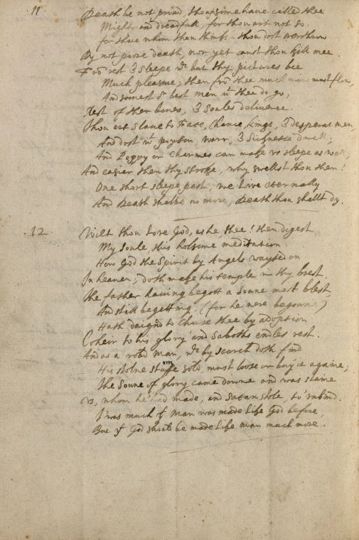 'Death be not proud' in Donne's handwriting (top half of the page) from the Westmoreland Manuscript of his works in the Berg Collection. c. 1620.                                       From the New York Public Library.