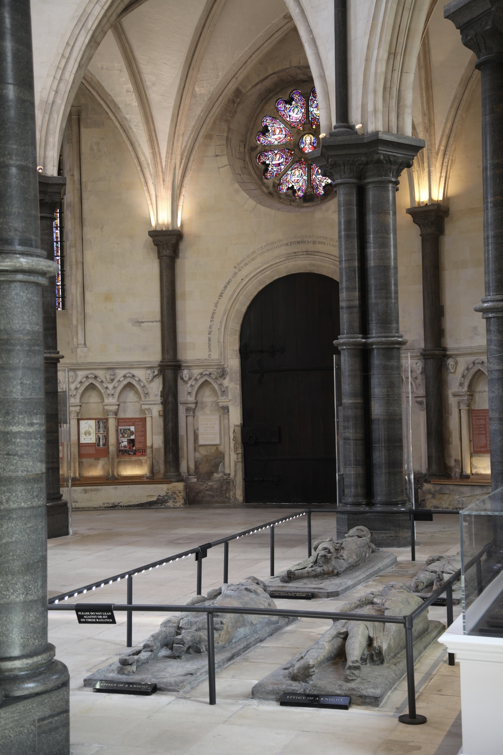Effigies of knights under the circular tower of the Temple Church in London.