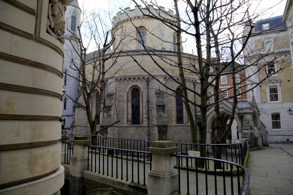 Exterior of the Temple Church in London, hidden amidst legal chambers just off Fleet Street.