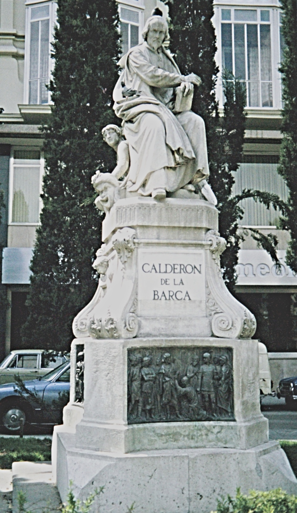 Monument to the Spanish author in Plaza de Santa Ana, Madrid (photo by EB, 1981)